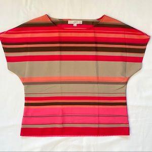 3/20$ LOFT Petite Striped Pink Blouse